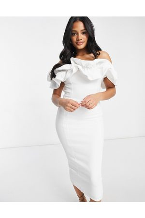 Club L Ruffle frill detail midi pencil dress in