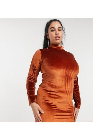 Rokoko Plus High neck long sleeve bodycon dress in burnt velvet