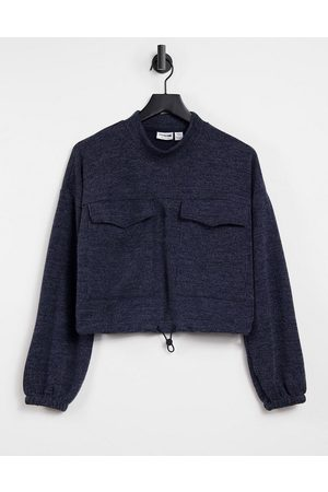 Noisy May Sweater with pocket detail and drawstring waist in navy