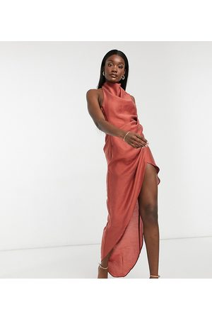 ASOS ASOS DESIGN Tall cowl neck maxi dress with open back in textured crepe in rust