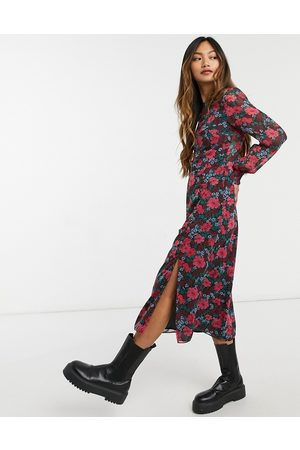 Nobody's Child Midi tea dress with shirred cuffs and thigh split in retro floral