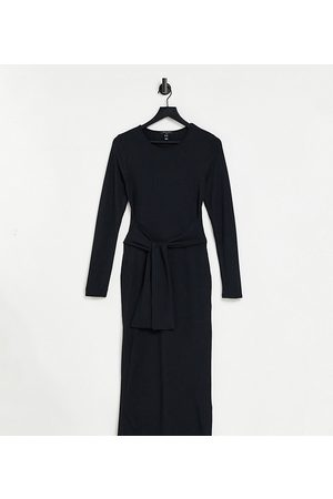 New Look 3/4 sleeve ribbed tie front midi dress in