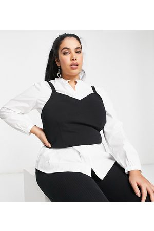 Vero Moda Shirt with overlay vest in black and white