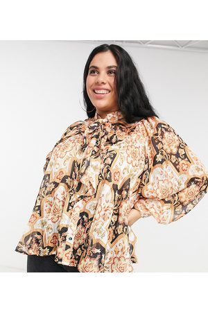 Simply Be Pussybow blouse with pleat detail in