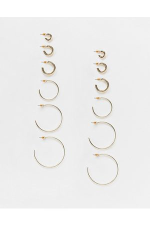 ASOS Pack of 6 hoop earrings in thin and thick designs in tone