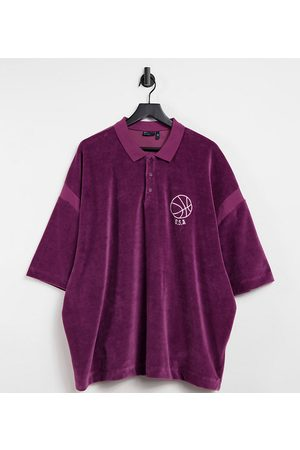 ASOS Plus oversized fleece polo shirt with chest embroidery