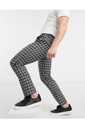Burton Skinny power check cropped trousers in and white