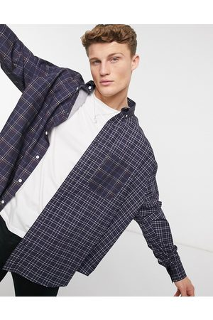 ASOS Oversize wide spliced patchwork check shirt in