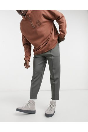 ASOS Smart tapered joggers in charcoal scuba with fixed hem