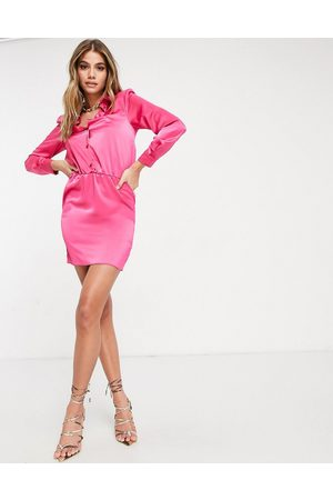 ASOS DESIGN Button through mini shirt dress with shoulder pads in satin in hot
