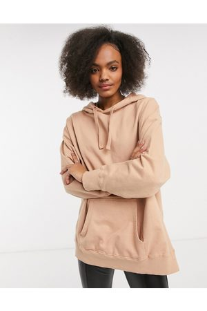 ASOS DESIGN Oversized pannelled hoodie in washed fawn-Neutral