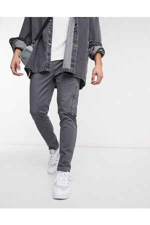 ASOS Slim trousers with MA1 pocket in charcoal