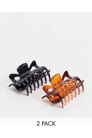 DesignB London Hair claw clip pack in tortoiseshell and black