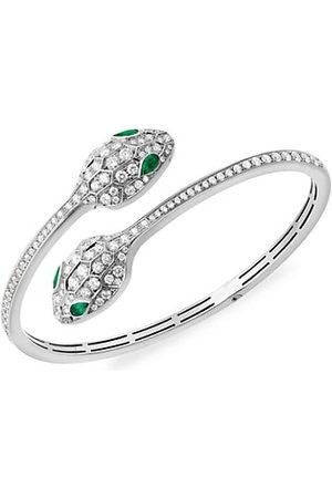 Bvlgari Serpenti Seduttori 18K , Emerald & Diamond 2-Head Bangle Bracelet