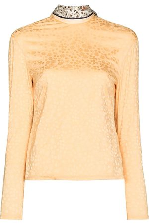 By Any Other Name Scarf-neck floral-jacquard top