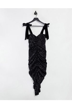ASOS Sequin ruched maxi dress with velour bunny ties in