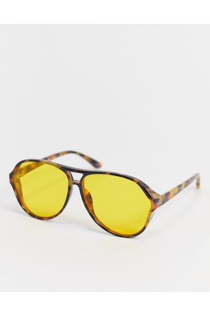 ASOS 80's oversized navigator sunglasses in tort with yellow lens