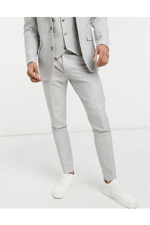 ASOS Wedding super skinny suit trousers in ice micro texture