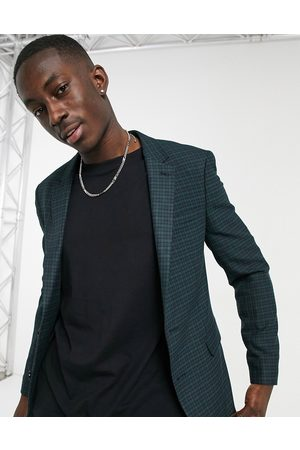 ASOS Skinny suit jacket in mini blackwatch tartan check in and green