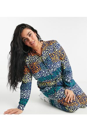 Never Fully Dressed Plus Women Long Sleeve - Wrap tie roll sleeve jumpsuit in mixed spot print-Multi