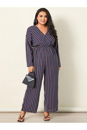 YOINS Plus Size V-neck Striped Wrap Design Elastic Strap Long Sleeves Jumpsuit