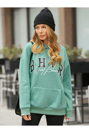 YOINS Women Long Sleeve - Letter Pocket Design Long Sleeves Hoodie