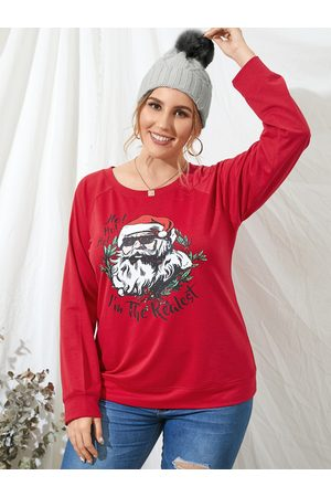 YOINS Plus Size Round Neck Graphic Christmas Long Sleeves Tee