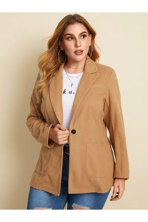YOINS Plus Size Notch Collar Side Pockets Button Design Long Sleeves Blazer