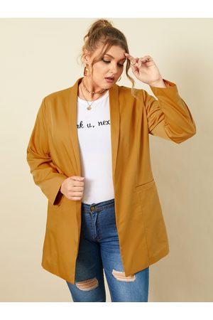 YOINS Plus Size Lapel Collar Side Pockets Long Sleeves Coat
