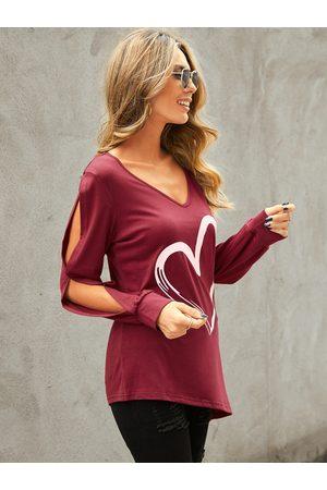 YOINS Burgundy Heart Slit Design Scoop Neck Long Sleeves Tee