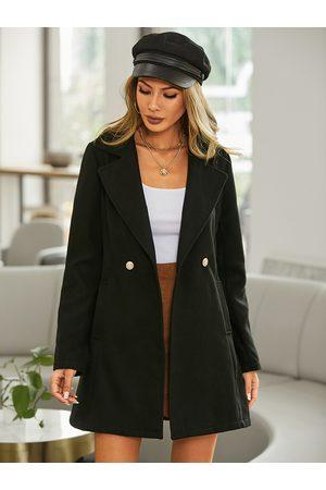 YOINS Button Design Lapel Collar Long Sleeves Coat
