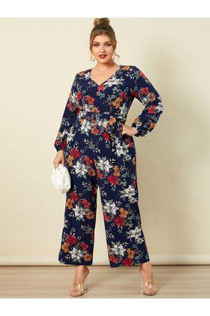 YOINS Plus Size V-neck Floral Print Wide Leg Belt Design Long Sleeves Jumpsuit