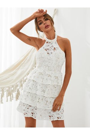 YOINS Halter Tiered Design Lace Sleeveless Mini Dress