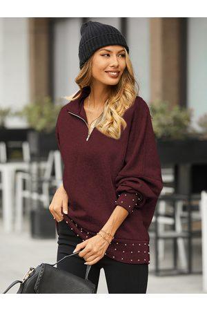 YOINS Beaded Details Zip design Long Sleeves Sweatshirt