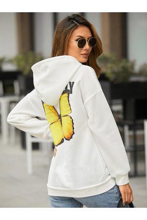 YOINS Women Long Sleeve - Butterfly Letter Pocket Drawstring Long Sleeves Hoodie