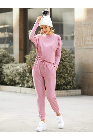 YOINS Drawstring Crew Neck Long Sleeves Two Piece Outfits