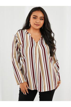 YOINS Plus Size V-neck Striped Long Sleeves Blouse