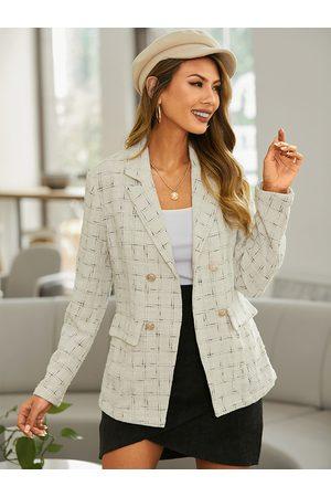 YOINS Women Blazers - Plaid Pocket Button Design Long Sleeves Blazer