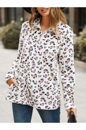 YOINS Leopard Zip Front Long Sleeves Sweatshirt