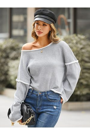 YOINS Casual Patchwork Round Neck Long Sleeves Sweatshirt