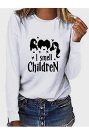 YOINS Graphic Letter Print Crew Neck Long Sleeves Tee