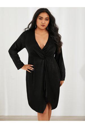 YOINS Women Midi Dresses - Plus Size Deep V Neck Wrap Design Twist Long Sleeves Dress