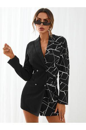 YOINS Geometric Patchwork Blazer Dress