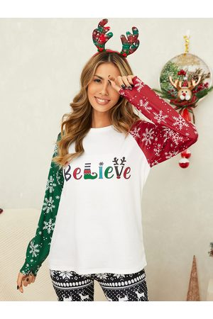 YOINS Snowflake Christmas Print Crew Neck Long Sleeves Tee