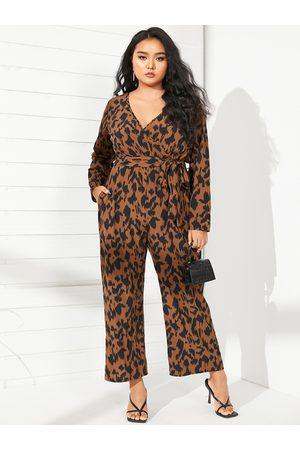 YOINS Plus Size V-neck Leopard Wrap Design Belt Design Long Sleeves Jumpsuit