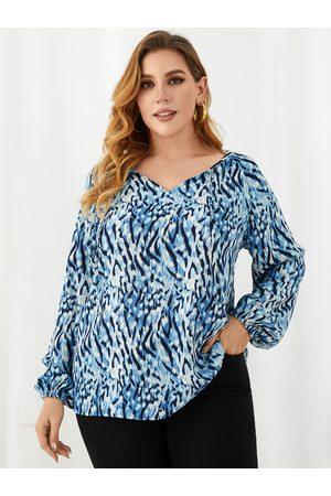 YOINS Women Blouses - Plus Size V-neck Leopard Tie-up Design Long Sleeves Blouse