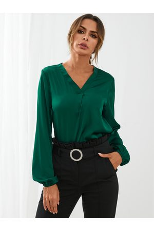 YOINS Elegant Satin V-neck Lantern Sleeves Blouse