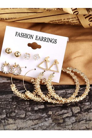 YOINS 6pairs Faux Pearl & Rhinestone Decor Earring Set