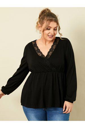 YOINS Women Blouses - Plus Size V-neck Wrap Design Lace Long Sleeves Blouse