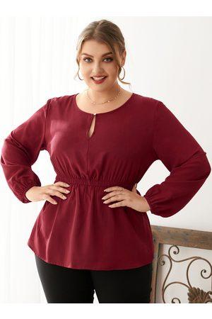 YOINS Women Blouses - Plus Size Round Neck Long Sleeves Blouse